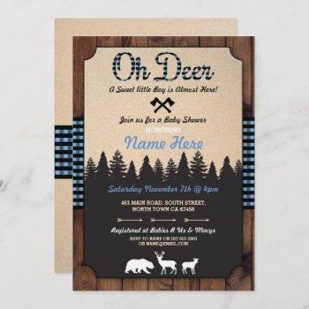 Oh Deer Lumberjack Blue Baby Shower Boy Invitation