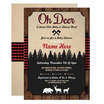 Oh Deer Lumberjack Red Baby Shower Boy Girl Invite