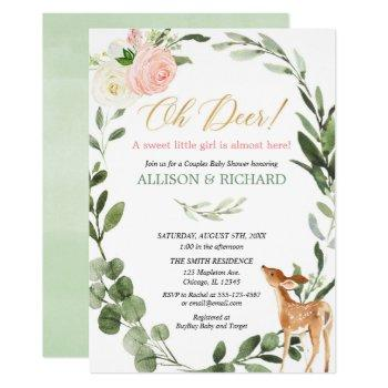 Oh Deer Pink Gold Couples Girl Baby Shower Invitation