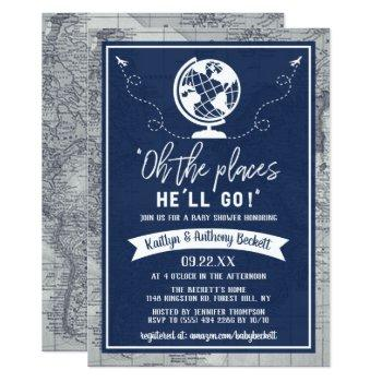 """oh The Places He'll Go!"" Travel Map Baby Shower Invitation"