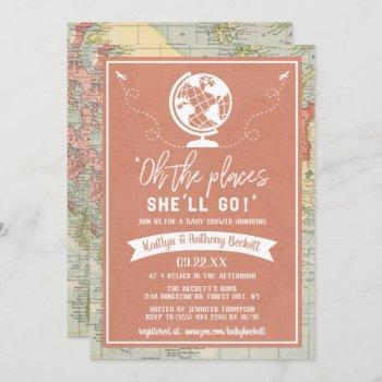 """""""oh The Places She'll Go!"""" Travel Map Baby Shower Invitation"""