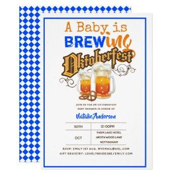Oktoberfest Baby Shower Baby Is Brewing Beer Pretz Invitation