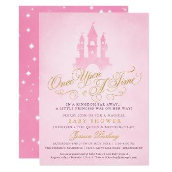 Once Upon A Time Fairytale Castle Girl Baby Shower Invitation