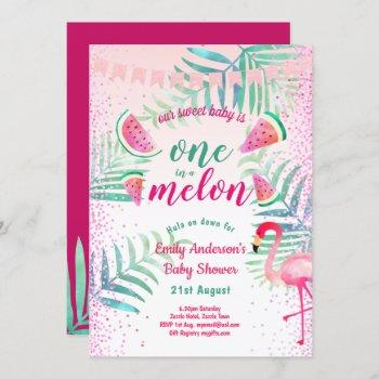 One In Melon Tropical Flamingo Watermelon Pink Invitation