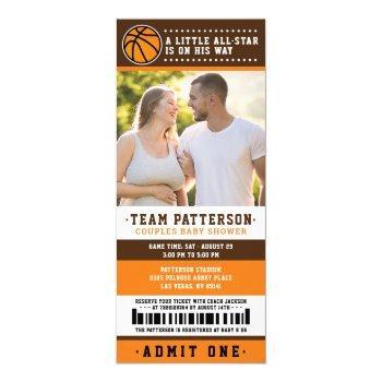 Orange Basketball Ticket Couples Baby Shower Photo Invitation