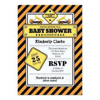 Orange Construction Baby Shower Invitation