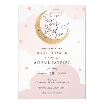 Over The Gold Moon Pink Baby Shower Invitation