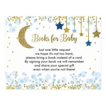 Over The Moon Blue Baby Shower Books For Baby Postcard