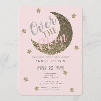 Over The Moon Blush Pink Baby Shower Invitation