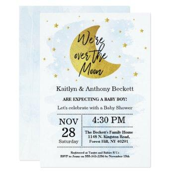 Over The Moon | Boys Baby Shower Invitation