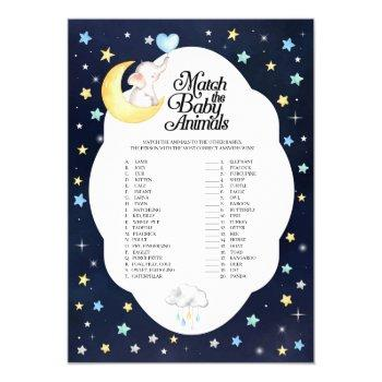 Over The Moon Elephant Match The Baby Animals Game Invitation