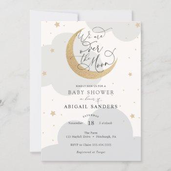 Over The Moon Gender Neutral Baby Shower Invitation