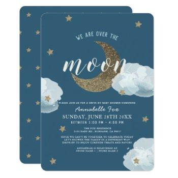 Over The Moon Midnight Blue Drive-by Baby Shower Invitation
