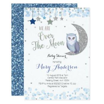 Over The Moon Owl Baby Shower Invitation Blue