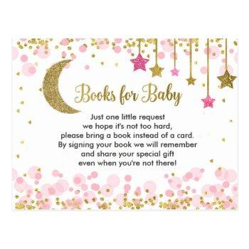Over The Moon Pink Baby Shower Books For Baby Postcard