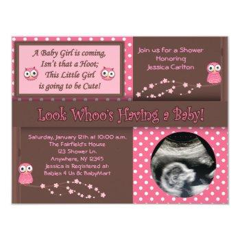 Owl Baby Girl Shower Invitations