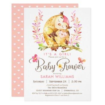Owl Baby Shower, Girl Invitation