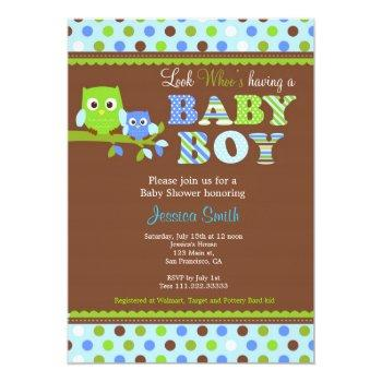 Owl Baby Shower Invitation Boy