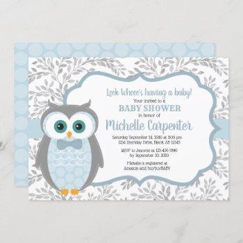 Owl Baby Shower Invitation Boy Blue Gray Woodland