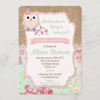 Owl Baby Shower  Burlap Lace Mint Pink