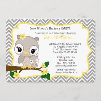 Owl Baby Shower Invitation Chevron Gray Yellow 160