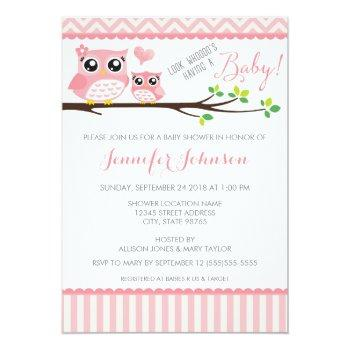 Owl Baby Shower Invitation | Pink Chevron | Girl