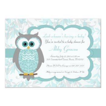 Owl Baby Shower Invitations, Aqua, Gray - 930 Invitation