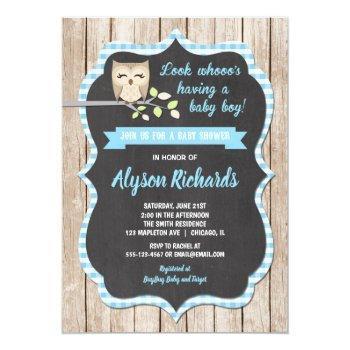 Owl Baby Shower Invitations Boy, Baby Blue