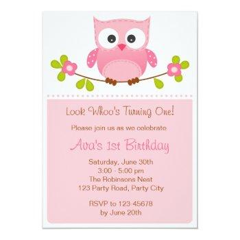 Owl Invitation - Girl 1st Birthday / Baby Shower