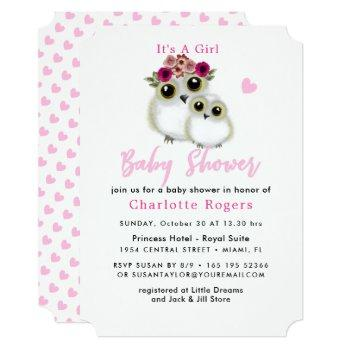Owl Whimsical It's A Girl Baby Shower Invitation
