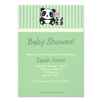Panda Baby Shower - Green Invitation