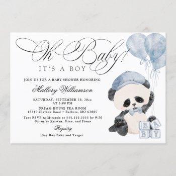 Panda Boy Baby Shower Invitation