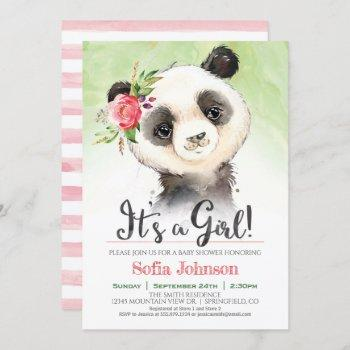 Panda Girl Baby Shower Invitation