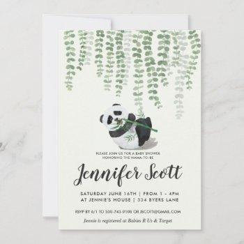 Panda Jungle Baby Shower Invitation