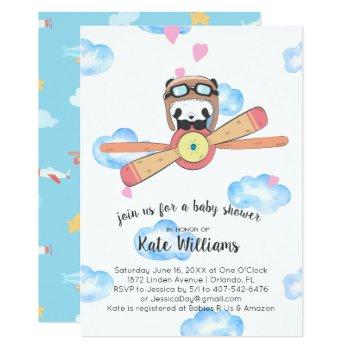 Panda Pilot Baby Shower Invitation