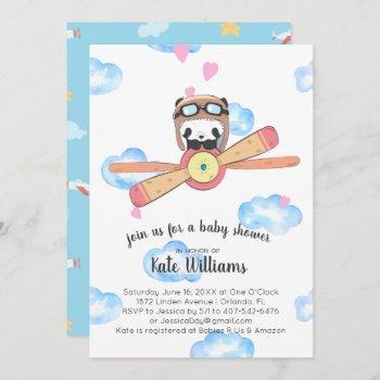Panda Pilot Baby Shower Invitation