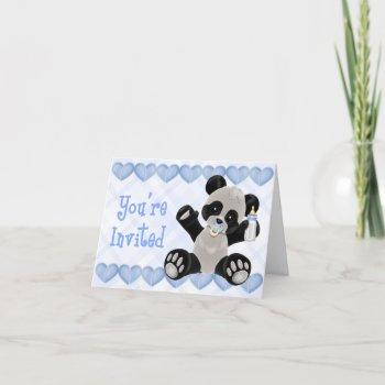 Panda With Pacifier Blue Baby Shower Invitation