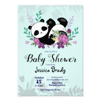 Panda With Purple Flowers Baby Shower Invitation