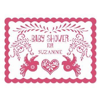 Papel Picado Baby Girl Shower Pink Orange Fiesta Invitation