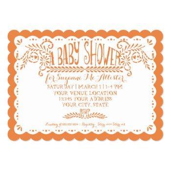 Papel Picado Baby Girl Shower Pool Orange Fiesta Invitation