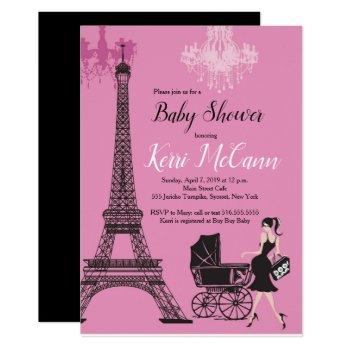 Paris Eiffel Tower Girls Pink Baby Shower Invitation