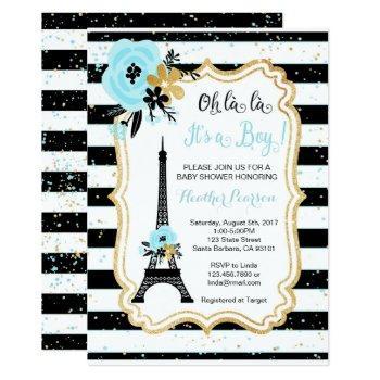 Paris Theme Baby Shower Invitation- Blue Invitation