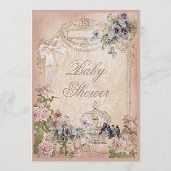 Parisian Birdcage, Birds And Flowers Baby Shower Invitation