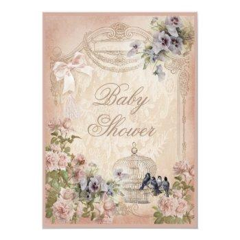 Parisian Birdcage, Birds And Flowers Baby Shower Invitation