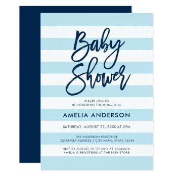 Pastel Blue & White Stripes Blue Baby Shower Invitation