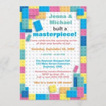 Pastel Building Blocks Baby Shower Invitation