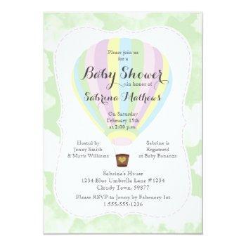 Pastel Hot Air Balloon Gender Neutral Baby Shower Invitation