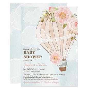 Pastel Hot Air Balloon Girl Baby Shower Invitation