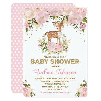 Pastel Pink Deer Baby Girl Shower Watercolor Peony Invitation