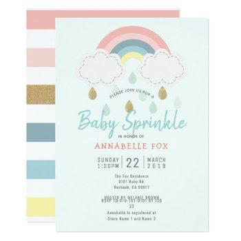 Pastel Rainbow Baby Sprinkle Shower Invitation
